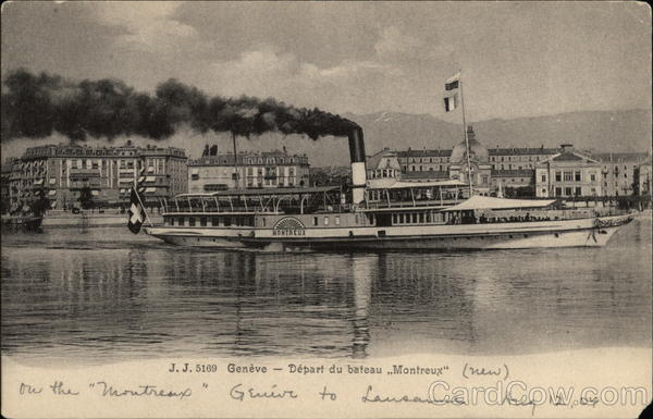 Montreux Steamer Ship from Geneve Steamers