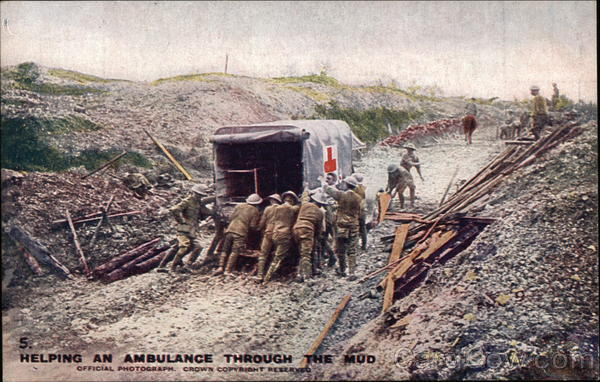 Helping an Ambulance Through the Mud Military