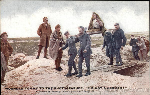 Wounded Tommy to the Photographer: I'm Not a German!
