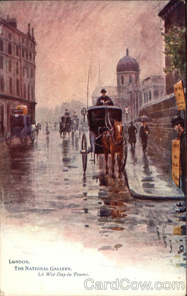 A Wet Day in Town Art