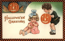 Rare Halloween Greetings with Children & Jack O'Lanterns Postcard
