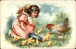 Loving Easter Greetings with Girl & Chicks