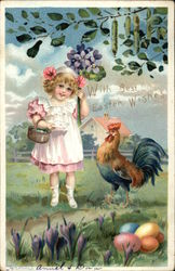 With Best Easter Wishes - Girl & Rooster with Eggs