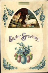 Easter Greeting with Eggs, Chicks & Bunny