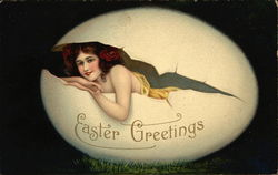 Easter Greetings with Woman Hatching from Egg