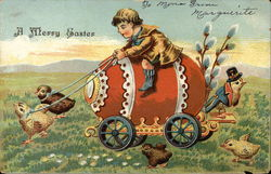 A Merry Easter with Boy Riding Egg