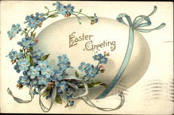 Easter Greeting with Egg & Blue Flowers