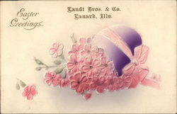 Easter Greeting with Egg & Pink Flowers
