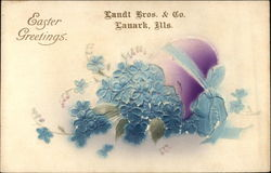 Easter Greetings with Purple Egg & Blue Flowers