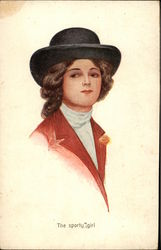 """The Sporty Girl"" wearing Red Jacket & Black Hat Postcard"