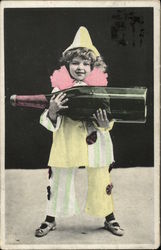Little Girl Dressed as a Clown Holding Huge Bottle of Champagne