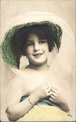 Young Girl Wearing Large Bonnet