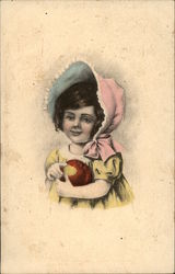 Young Girl Wearing Pink Bonnet & Holding Apple