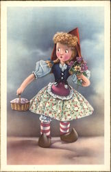 Little Dutch Girl Holding Basket and Bouquet of Flowers