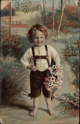 Good Wishes with Young Boy Holding Flowers