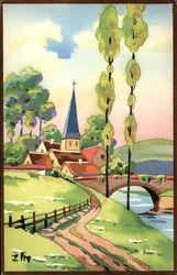 Watercolor Landscape of Lane Into Town and Bridge
