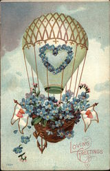 Loving Greetings with Hot Air Balloon Postcard