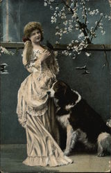 Girl in Victorian Dress with Bird & Large Dog