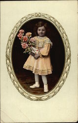 Little Girl in Yellow Dress Holding Bouquet of Roses