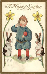 A Happy Easter with Child & Bunnies