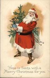 Here is Santa with a Merry Christmas for You Postcard