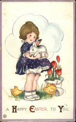 A Happy Easter to You with Girl, Chicks & Bunny