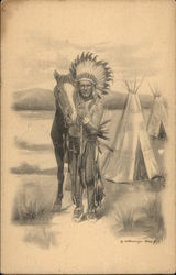 Indian Chief with Horse & Tepee