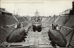 Mother Boat and Submarines in Dry Dock, Mare Island, Calif