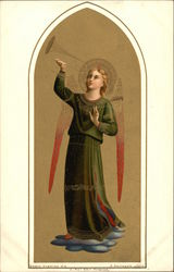 Angel wearing Green Robes holding Horn