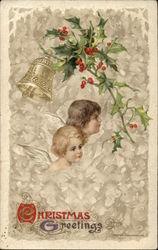 Christmas Greetings with Angels & Holly