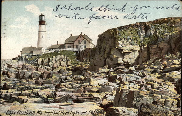 Portland Head Light and Cliffs Cape Elizabeth Maine