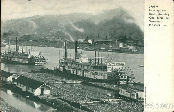 Monongahela River, Showing Coal Barges and Steamers Pittsburgh Pennsylvania