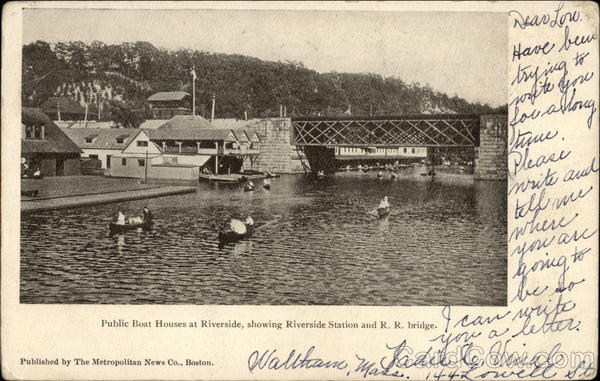 Public Boat Houses at Riverside Showing Riverside Station and R.R. Bridge Cambridge Massachusetts