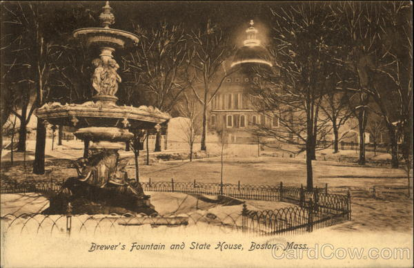 Brewer's Fountain and State House Boston Massachusetts