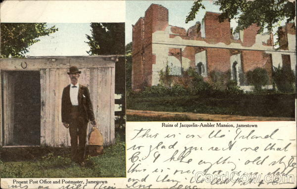 Present Post Office and Postmaster, Ruins of Jacquelin-Ambler Mansion Jamestown Virginia