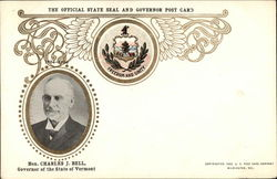 Hon. Charles J. Bell Official State Seal & Governor Post Card