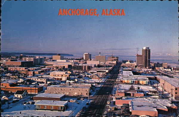 Aerial View of City Anchorage Alaska