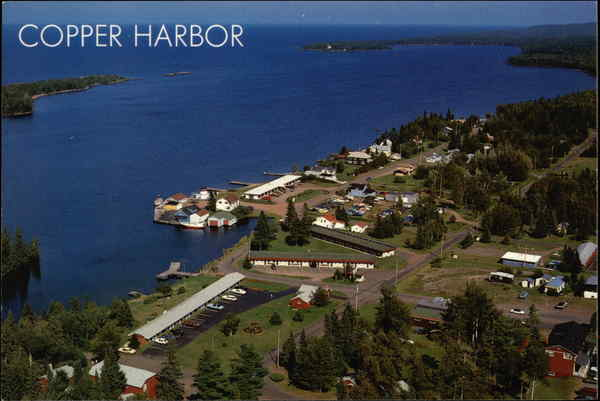 Aerial View of Town Copper Harbor Michigan