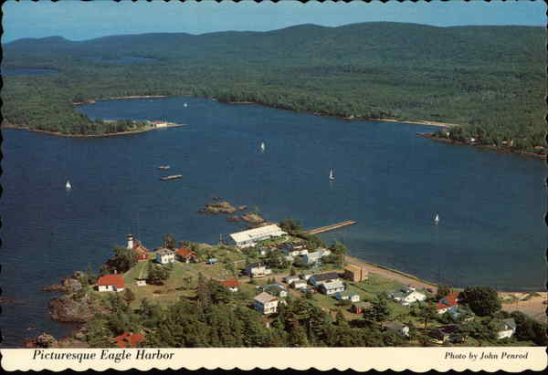 Aerial View Eagle Harbor Michigan