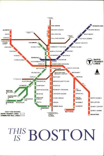Massachusetts Subway Map.Map Of The Boston Subway System Massachusetts Subways