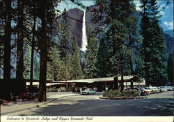 Entrance to Yosemite Lodge and Upper Yosemite Fall