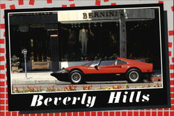 Red Ferrari 308 Parked on Rodeo Drive Postcard