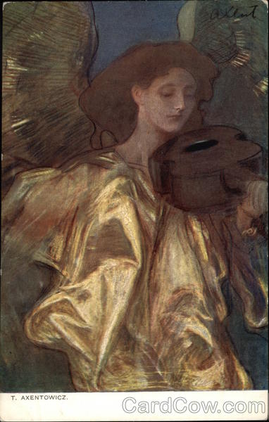 Painting of Angel wearing Gold & Playing Stringed Instrument
