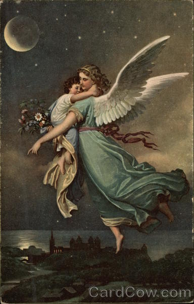 Angel holding Small Child in the Night Sky Angels