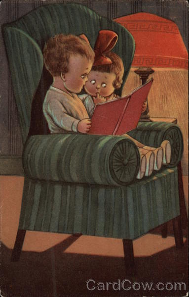 Boy & Girl Reading a Book in a Large Chair Children