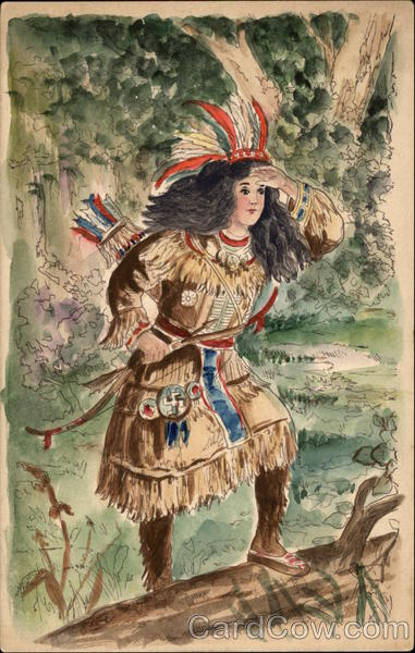 Indian Maiden with Bow & Arrows Native Americana Hand Drawn