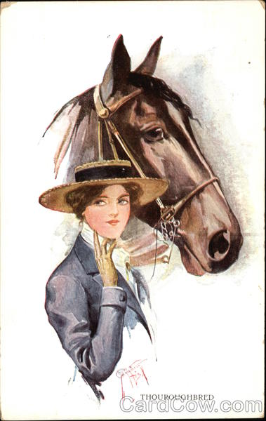 A Woman with a Thouroughbred Horse Barber Court Artist Signed