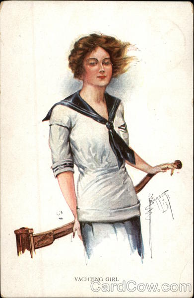 Yachting Girl in Sailor Suit with Windblown Hair
