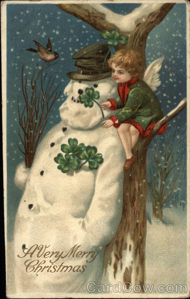 A Very Merry Christmas with Shamrocks & Snowman Ellen Clapsaddle