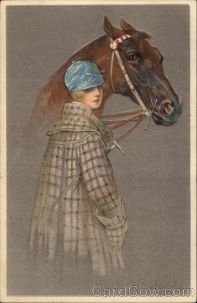 Woman in Riding Attire standing with Horse Colombo